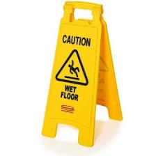 WET FLOOR SIGN YELLOW CLEANING PROGRESS