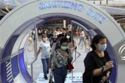 sanitizing spray gate system